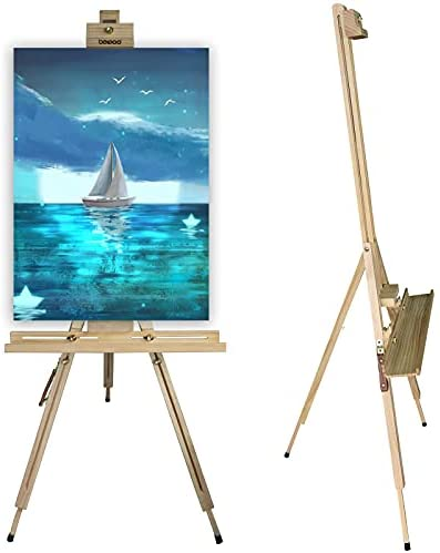 Read more about the article Beipoo Wooden Tripod Artist Painting Easel Stand,Sturdy A-Frame and Foldable Design,Adjustable Height 35 to 75 Inches,Large Storage Tray,Floor Easel Stand for Painting,Sketching,Display,Sign,Drawing