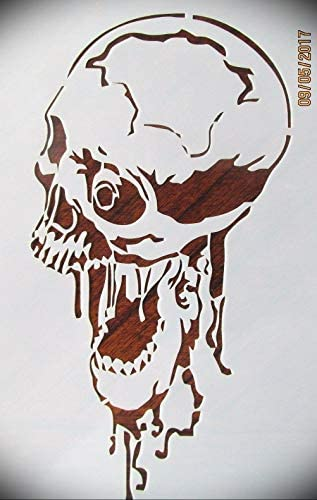 Read more about the article Rubstamper Screaming Skull Logo Stencil Reusable 10 mm Mylar Laser Cut Stencil Arts and Crafts Material Scrapbooking for Airbrush Painting Drawing