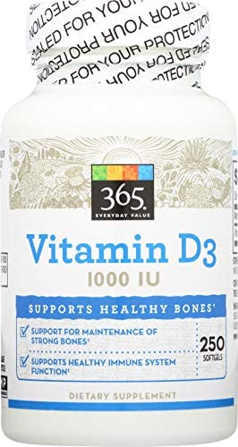 Read more about the article 365 by WFM, Vitamin D3 1000 IU, 250 Softgels