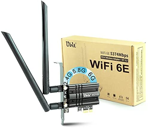 Read more about the article Ubit WiFi 6E Supports 6GHz 7th Generation PCIe WiFi Card, Up to 5400Mbps, Bluetooth 5.2, AX210 Wireless WLAN Adapter with MU-MIMO,OFDMA,Ultra-Low Latency, Supports Windows 10 (64bit) only