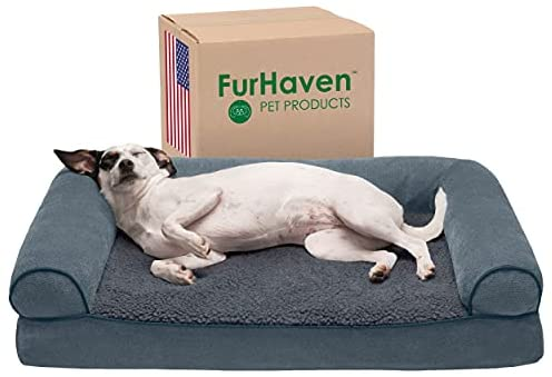 Read more about the article Furhaven Pet Dog Bed – Orthopedic Faux Fleece and Chenille Soft Woven Traditional Sofa-Style Living Room Couch Pet Bed with Removable Cover for Dogs and Cats, Orion Blue, Medium