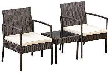 Read more about the article Amazon Basics Outdoor Patio Garden Faux Wicker Rattan Chair Conversation Set with Cushion – 3-Piece Set, Brown