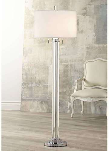 Read more about the article Cadence Modern Contemporary Glam Style Floor Lamp Art Deco Brushed Nickel Crystal Glass Standing Column Linen Fabric Drum Shade for Living Room Reading House Bedroom Home Office – Possini Euro Design
