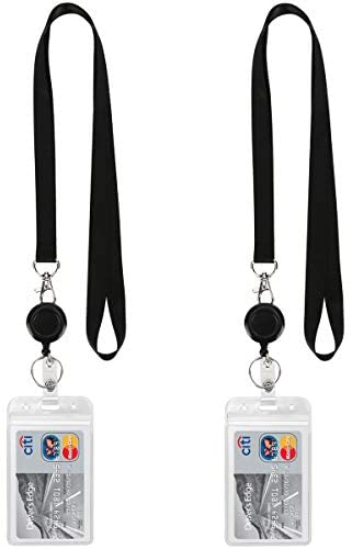 Read more about the article YOUOWO Lanyard Black Retractable Badge Reel with ID Badge Holder with Badge Reel Clip for Card Badges Holders Vertical Punched Zipper Waterproof 2 Pack