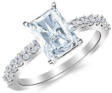 Read more about the article 3.5 Ctw 14K White Gold Classic Side Stone Prong Set Radiant Cut GIA Certified Diamond Engagement Ring (3 Ct H Color SI2 Clarity Center Stone)