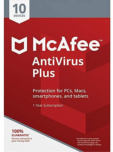 Read more about the article McAfee AntiVirus Plus, for PC or Mac, 10 Devices, 1 Year Subscription