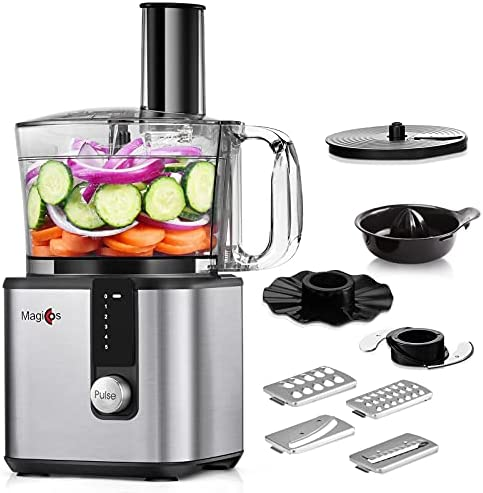 Read more about the article Food Processor – MAGICCOS 2021 Upgraded 7 in 1 Food Processor, 750W Powerful Food Chopper 8 Cup, 5 Speeds & Pulse for Chopping, (Wave) Slicing, Pureeing, Fine/Coarse Grating, Juicing & Emulsifying