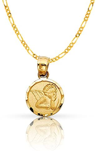 Read more about the article 14K Yellow Gold Angel Charm Pendant with 1.2mm Figaro 3+1 Chain Necklace