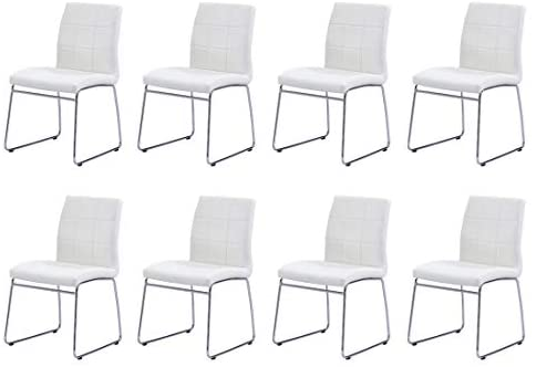 Read more about the article Modern Dining Chairs Set of 8, Dining Room Chairs with Faux Leather Padded Seat Back in Checkered Pattern and Sled Chrome Legs, Kitchen Chairs for Dining Room,Kitchen, Living Room, White Chairs