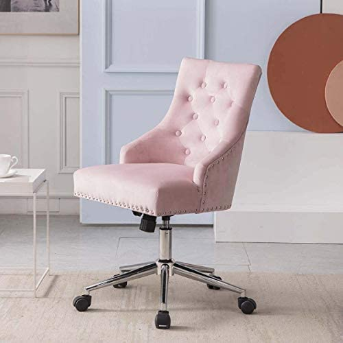 Read more about the article ZOYO Velvet Home Office Chair Boss Office Products Chairs Modern Adjustable Swivel Computer Chair Metal Base and Black Wheels Ergonomic Design (Pink with armrests)
