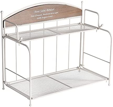Read more about the article Funly mee 2 Tier Kitchen Countertop Spice Rack, Bathroom Metal and Wood Foldable Shelf Organizer (Rustic White)