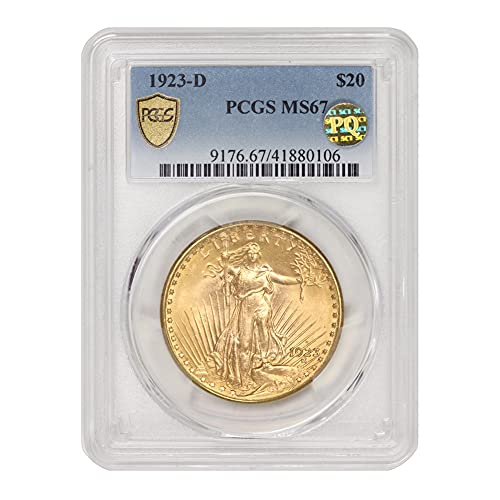Read more about the article 1923 D American Gold Saint Gaudens Double Eagle MS-67 PQ Approved by CoinFolio $20 MS67 PCGS