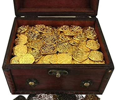 Read more about the article 200 Toy Metal Shiny Gold Pirate Coins with Treasure Chest