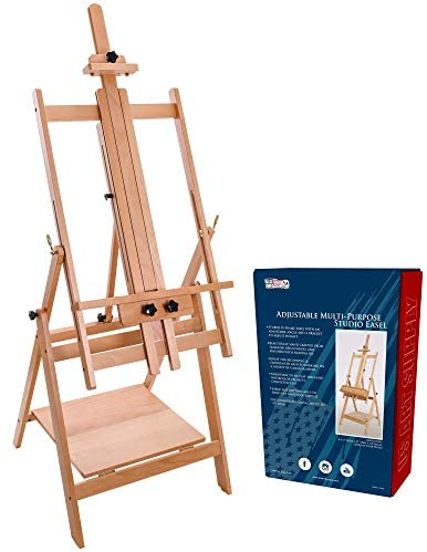 Read more about the article U.S. Art Supply Large Adjustable H-Frame Multi-Purpose Studio Artist Wooden Floor Easel – Tilts Flat, Mast Adjusts to 88″ High, Holds 59″ Canvas – Sturdy Beechwood Painting Holder Display Stand, Shelf