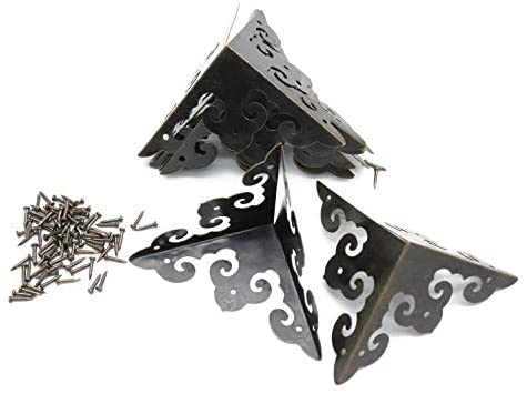 Read more about the article Vintage Corner Protectors Karcy Metal Box Corner Protector Corner Brace with Mounting Screws for Furniture Jewelry Box Decoration Side Length 2 inch Bronze Tone Carved, Hollow Style Pack of 8