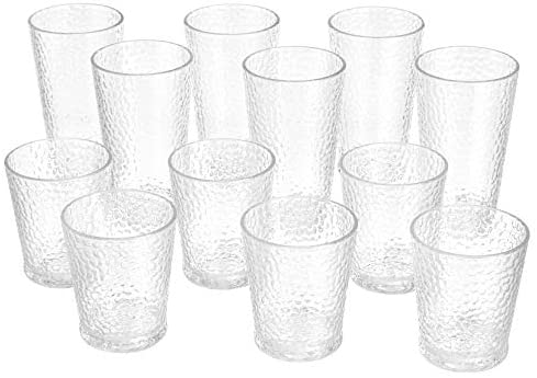 Read more about the article Amazon Basics 12-Piece Tritan Glass Drinkware Set – Hammered Highball and Double Old Fashioned, 6-Pieces Each, 21oz./14oz.