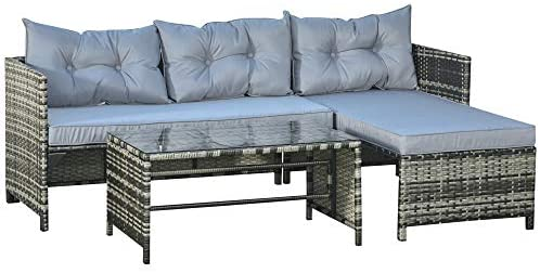 Read more about the article Outsunny 3-Piece Rattan Patio Furniture Sofa Set Conversation Set, Sectional Lounge Chaise Cushioned for Garden Poolside or Porch Lounging, Grey