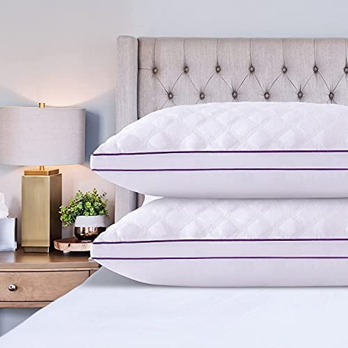 Read more about the article Amaredom Bed Pillows for Sleeping 2 Pack, Queen Size Pillows for Sleeping, Cooling Down Alternative Hypoallergenic Pillows for Side Back Stomach Sleepers, Adjustable Height, Violet (20×30)