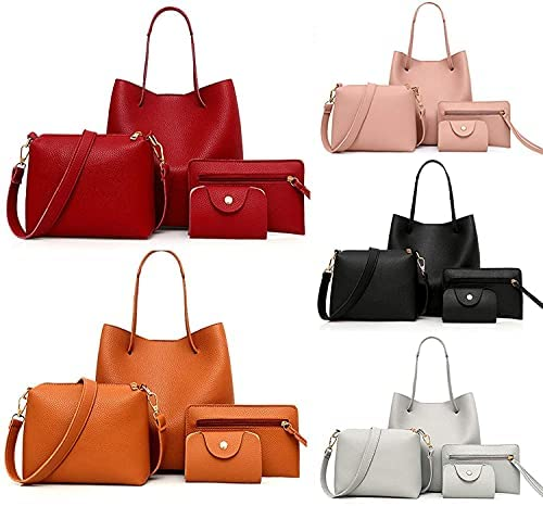 Read more about the article Tote Bags Set,2021 Women Fashion Synthetic Leather Handbags+Shoulder Bag+Purse+Card Holder 4pcs Set Tote