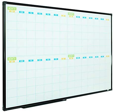 Read more about the article Lockways 36″ x 24″ Magnetic Dry Erase Calendar Whiteboard, 4 Month Framed White Board Planner, Wall Mounted Message Presentation Memo Calendar Board