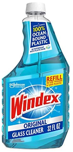Read more about the article Windex Glass and Window Cleaner Refill Bottle, Bottle Made from 100% Recycled Plastic, Original Blue, 32 fl oz