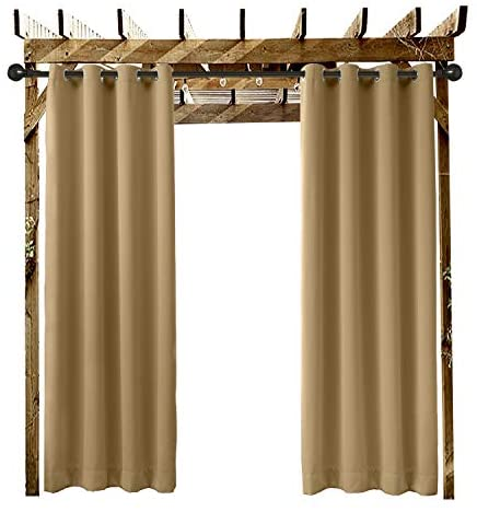 Read more about the article ChadMade Outdoor Curtain Wheat 84″ W x 96″ L Grommet Eyelet in Front Porch Pergola Cabana Covered Patio Gazebo Dock and Beach Home (1 Panel)