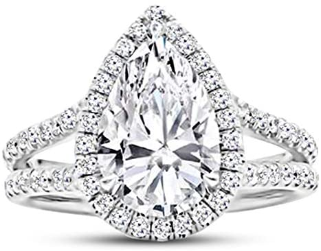 Read more about the article 1.5 Ctw 14K White Gold Single Classic Halo GIA Certified Pear Cut Diamond Engagement Ring (1 Ct Center D-E Color VS1-VS2 Clarity)