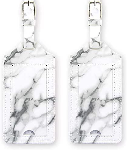 Read more about the article kandouren Luggage Tags 2 Pieces Set,White Marble PU Leather travel bag tags for cruise ships,for men and women