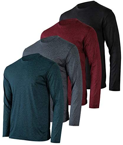 Read more about the article 4 Pack: Men's Dry-Fit Moisture Wicking Performance Long Sleeve T-Shirt, UV Sun Protection Outdoor Active Athletic Crew Top