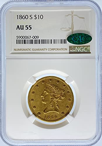 Read more about the article 1860 Liberty Head G$10 AU55 NGC/CAC