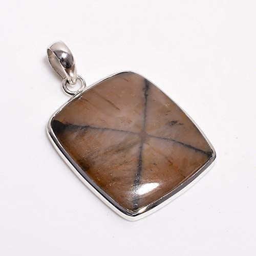 Read more about the article Gemkora Natural Chiastolite Gemstone Cabochon Cushion Pendant Gift Jewelry in 925 Sterling Silver, Healing, Birthstone, Graduation Day, Birthday Gift (Unisex)