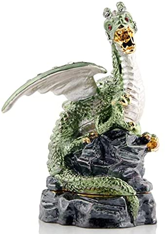 Read more about the article Green Dragon Figurine Dinosaur Jewelry Trinket Boxes Hinged Ring Holder Dragon Home Decor Gift