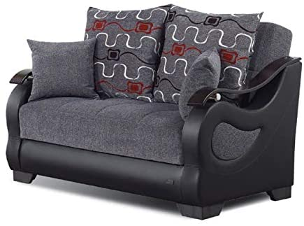 Read more about the article BEYAN Arizona Collection Convertible Storage Love Seat with Easy Access Storage Space, Includes 2 Pillows, Gray