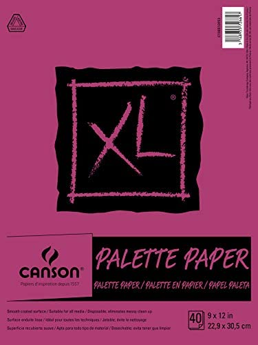 Read more about the article Canson Foundation Disposable Palette Pad, Coated Paper, Fold Over, 9 x 12 Inch, 40 Sheets, 9″ x 12″