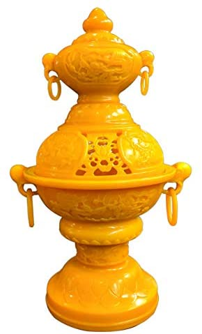 """Read more about the article Yijin Art Glass Hollowing Carving Palace Lantern Incense Holders Works Asian Oriental Qianlong Style Collectibles Yellow H 17.7"""" for Collectors Connoisseurs Museum Collectible"""