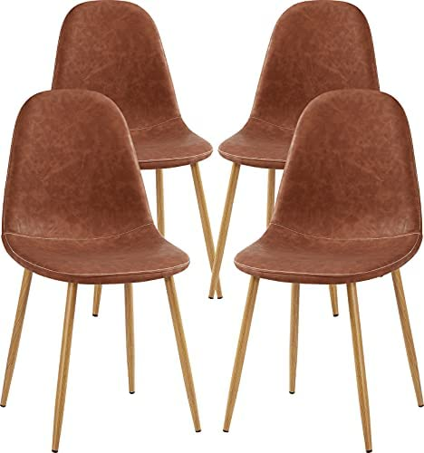 Read more about the article GreenForest Dining Chairs Set of 4,Dining Kitchen Room Chairs, Modern Upholstered Dining Chairs with Soft Pu Leather Cover Cushion Seat and Metal Legs,Side Chairs for Living Room, Dark Brown