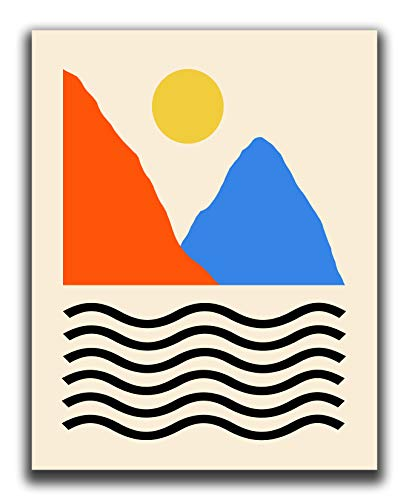 Read more about the article Abstract Geometric Mountain, Sea And Sun Wall Art Print – 11×14″ UNFRAMED Print – Modern, Scandinavian, Red, Yellow And Blue Wall Decor – Mid Century Modern Decor
