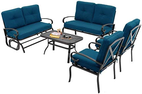 Read more about the article Betterland Outdoor Furniture 5Pcs (6 Seats) Patio Conversation Sets (Glider, Loveseat, Coffee Table, 2 Chairs) Swing Glider Wrought Iron Frame Patio Metal Lounge Chairs Set with Peacock Blue Cushions
