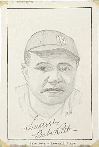 Read more about the article Stunning Babe Ruth Signed Autographed Original Art Photo Drawing PSA DNA COA – Autographed MLB Art