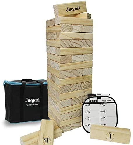 Read more about the article Juegoal 54 Piece Giant Tumble Tower, Wooden Block Game with Gameboard, Canvas Bag for Outdoor Yard Playing,7.1 x 7.2 x 25.2 Inches