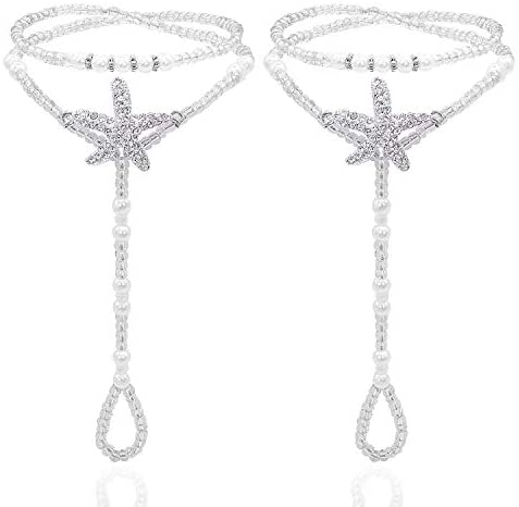 Read more about the article Bellady 2Pcs Pearl Ankle Chain Barefoot Sandals with Starfish Beach Wedding Foot Jewelry