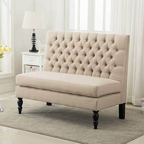 Read more about the article Modern Settee Bench Banquette loveseat Sofa Button Tufted Fabric Sofa Couch Ding Bench Chair 2-Seater