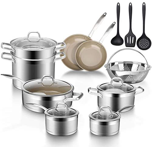 Read more about the article Duxtop 17PC Professional Stainless Steel Induction Cookware Set, Stainless Steel Ceramic Nonstick Pan Set, Impact-bonded Technology, FUSION Titanium Reinforced Ceramic Coating, Brown