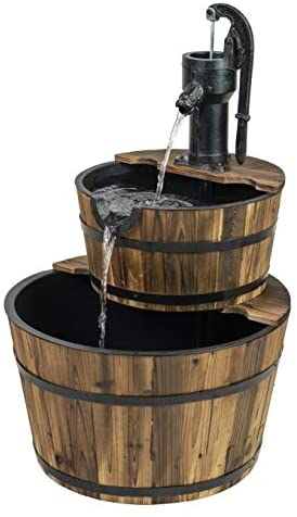 Read more about the article Patio Premier 412002 Two Tiered Cascading Wood Washtub Fountain, Brown
