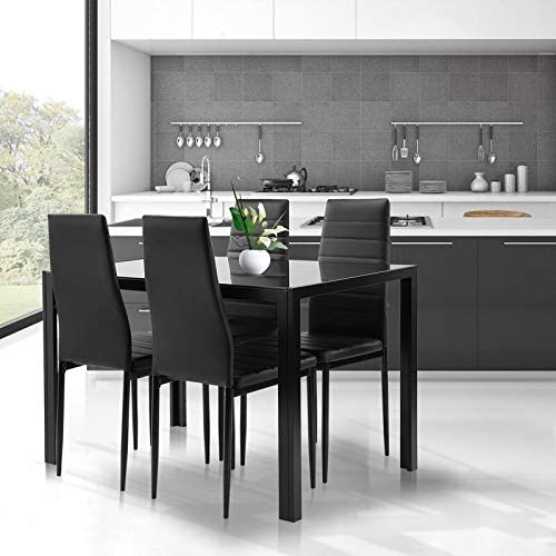 Read more about the article Black Dining Table and Chairs Set- 5 Piece, Tempered Glass Top Table and PU Leather Chairs of 4 for Small Kitchen Dining Room Living Room