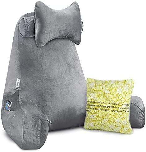 """Read more about the article Vekkia Premium Soft Reading & Bed Rest Pillow with Higher Support Arm, Pocket, Free Neck Pillow. Back Support for Reading/Relaxing/Watching TV – Extra Foam Incl-24"""""""