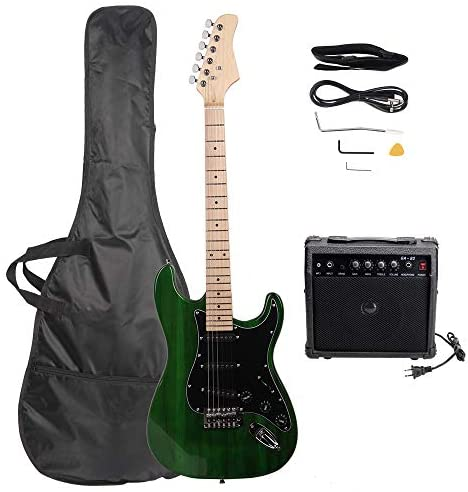 Read more about the article GLARRY Full Size Electric Guitar for Music Lover Beginner with Amp and Accessories Pack Guitar Bag (Green)