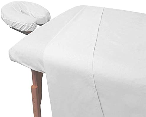 Read more about the article Atlas White 3-Piece Massage & Spa CottonPoly Table Linen Set with Soil Release Finish, Large Flat Sheet, Quality Preferred by Professionals, 190 Thread Count Percale