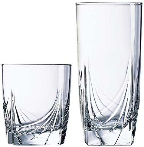 Read more about the article Luminarc 16 Piece Ascot Tumbler Set, 8-16.5 Ounce Coolers & 8-13 Ounce Double Old Fashioned Glasses, Mixed, Clear