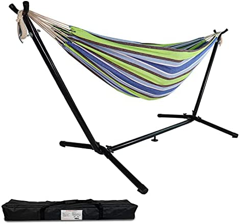 Read more about the article Highwild Double Hammock with Space Saving Steel Stand – Max 600 Lbs – 2 Person Adjustable Cotton Hammock Includes Portable Carrying Bag(Blue/Green)